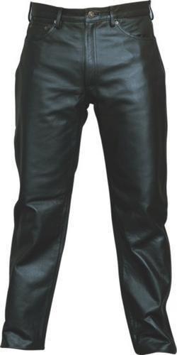 Men's Black Heavy Duty And Soft Analine Cowhide Leather Jean-style Black Pants W Ykk Hardware