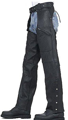 "Mens & Womens Motorcycle Cowhide Leather Biker Riding Chaps Pants Unisex Zipper Pockets (thigh Measurement 22"""