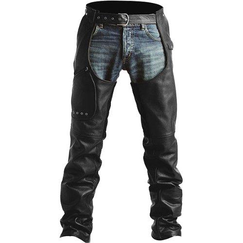 Pokerun Outlaw 2.0 Chaps Men's Leather Cruiser Motorcycle Pants - Black / Medium