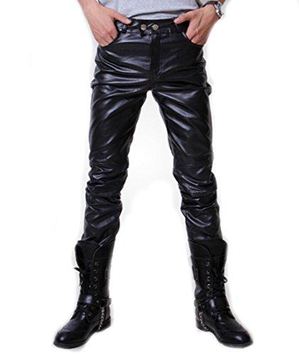 Tm Men's Punk Rock Fake Leather Pu Slim Motorcycle Trousers Pants