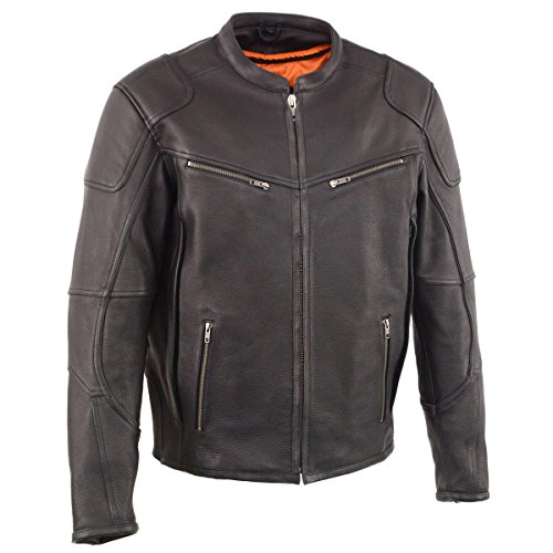 Cool-Tec Milwaukee Leather Mens Vented Leather Scooter Jacket with Gun Pockets - Small