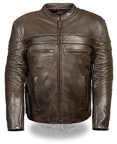 MENS MOTORCYCLE RETRO BROWN GENUINE LEATHER SCOOTER JACKET VERY SOFT GUN POCKET XL Regular
