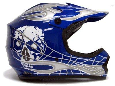 TMS Youth Kids Bluesilver Skull Dirt Bike Motocross Helmet Mx Small