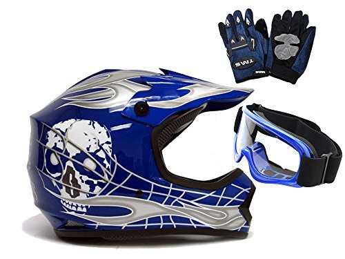 TMS Youth BlueSilver Skull Dirt Bike Motocross Helmet MXGogglesGloves~L