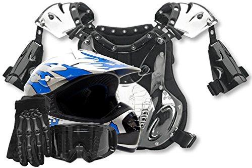 Youth Offroad Helmet Gloves Goggles Chest Protector Gear Combo Motocross Atv Dirt Bike Mx Black Blue ( Medium )