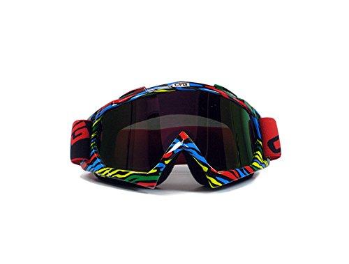 CRG Sports Motocross ATV Dirt Bike Off Road Racing Goggles T815-7 Parent Red Multi-Color Lens 11A