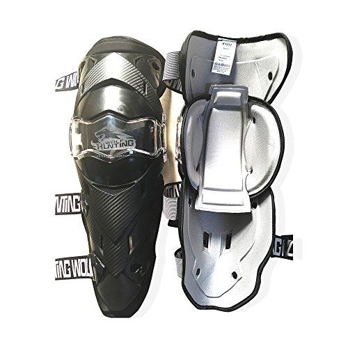 Huntingwolf Racing Knee Shin Guards MTB Motorcycle Motocross Protective Gear - KN01 Black Knee Guards