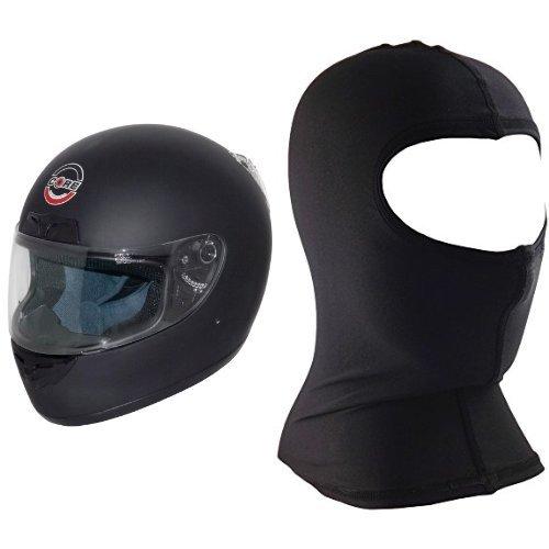 Core Cr-1 Full Face Street Helmet (flat Black, Small) And Core Nylon Balaclava (black, One Size) Bundle