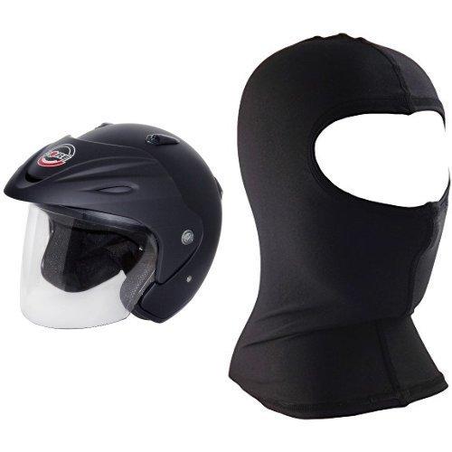Core Jet Open-face Helmet (flat Black, Medium) And Core Nylon Balaclava (black, One Size) Bundle