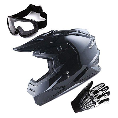 1Storm Adult Motocross Helmet BMX MX ATV Dirt Bike Helmet Racing Style Glossy Black  Goggles  Skeleton Black Glove Bundle