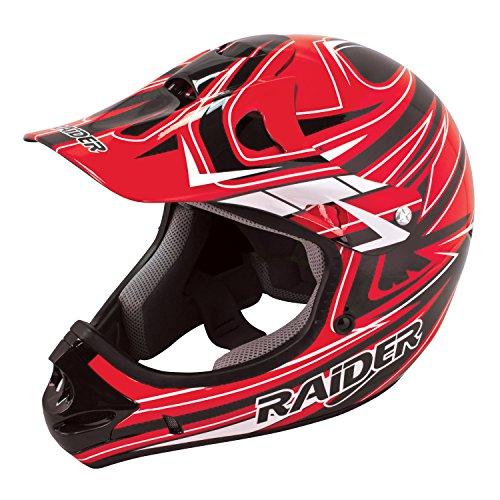 Raider Youth Kids Rush MX Motocross ATV Off-Road Helmet Red Large