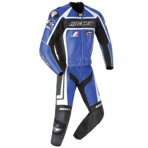 Joe Rocket Mens Speedmaster 5.0 2 Piece Leather Race Suit Blue/black 46