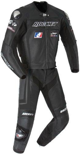 Joe Rocket Speedmaster 5.0 Men's Leather 2-piece Motorcycle Race Suit (black/black, Size 52)