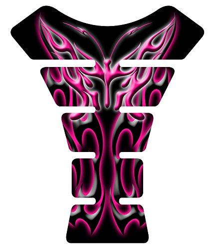 Black Dark Pink Flaming Butterfly Gel Motorcycle Gas Tank Pad Protector Decal