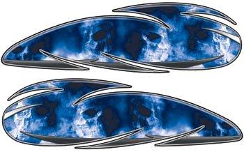 Custom Motorcycle Gas Tank Graphics With Blue Skulls