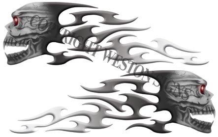 Gray Motorcycle Gas Tank Tribal Skull Flames