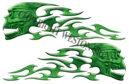 Green Motorcycle Gas Tank Tribal Skull Flames - 3 h x 10 w