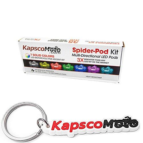 KapscoMoto SPIDER POD 7 COLOR LED POD ACCENT LIGHT GLOW KIT UNIVERSAL MOTORCYCLE LIGHT KIT UNDERGLOW FITS CRUISERS NEON LIGHT KIT WITH 2X WIRELESS CONTROLS GLOW PACKAGE  KapscoMoto Keychain
