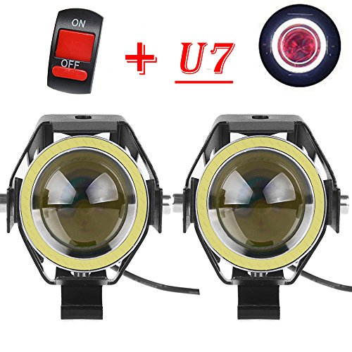 125W Motorcycle light Cree LED headlight U7 Fog Lamp Spotlight DRL Daytime Driving Lights Strobe Fashlight with white Angel Eyes Ring and ONOFF toggle Switchpack of 2
