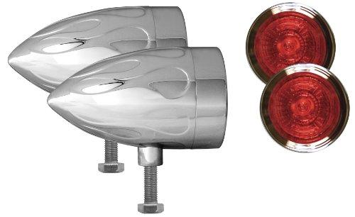 Adjure NS23518-R Beacon 2 Red Lens 35W Flush Mount Flamed Chrome Motorcycle Light - Pair