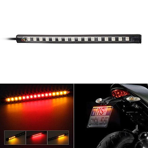 Partsam 16LED 8 Motorcycle Light Strip Tail Brake Stop Turn Signal Light Universal