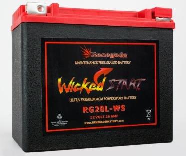 RG20L-WS Wicked Start 500 CCA Battery Harley 1996 Softail Custom Part 16L-BS BTX20L-BS ES20LBS YTX20L-BS 65989-97ABC