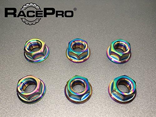 RacePro - Kawasaki GPZ900R 1988 x6 Titanium Rear Sprocket Nuts -Rainbow