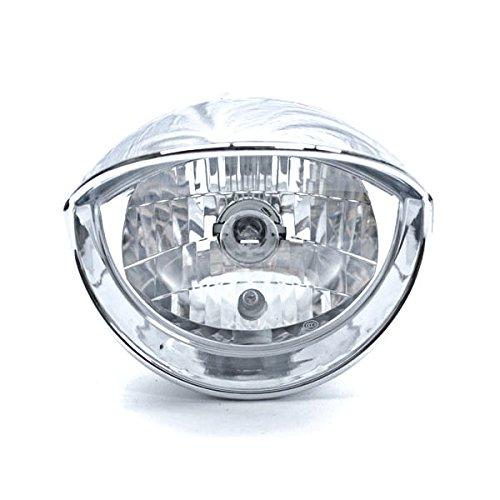 Krator Custom Chrome Headlight Visor Head Light for any Harley Honda Yamaha Suzuki Kawasaki Custom Bike Cruiser Choppers