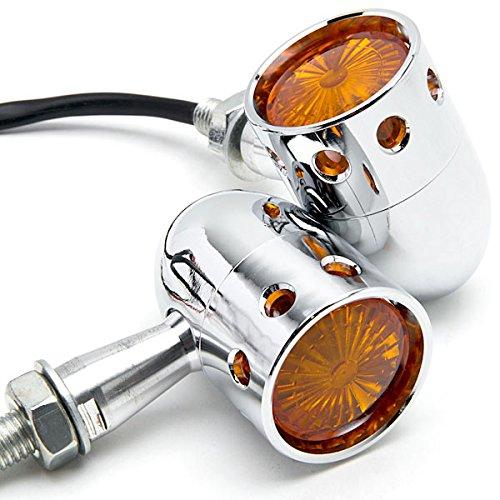 Krator 2pcs Chrome Motorcycle Turn Signals Blinker Lights For Kawasaki Eliminator BN 125 250 600 900
