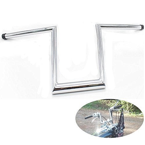 GLAD CRE8 Chrome Powdercoat Finish Steel 10 Rise 3 Pullback Narrow Ape Hangers Z-Bars Handlebars for Harley Softail Fatboy Dyna Bobber Choppers Motorcycle