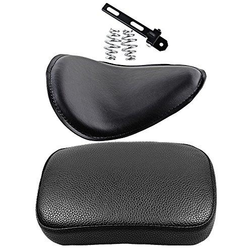 Set of Rectangular Pillion Passenger Pad Seat  Motorcycle 3 Leather Solo Seat for Harley Custom Chopper