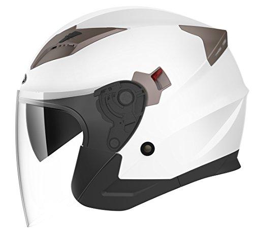 Motorcycle Vespa Open Face Helmet DOT Approved - YEMA YM-627 Motorbike Moped Jet Bobber Pilot Crash Chopper 34 Half Helmet with Sun Visor for Adult Men Women - WhiteMedium