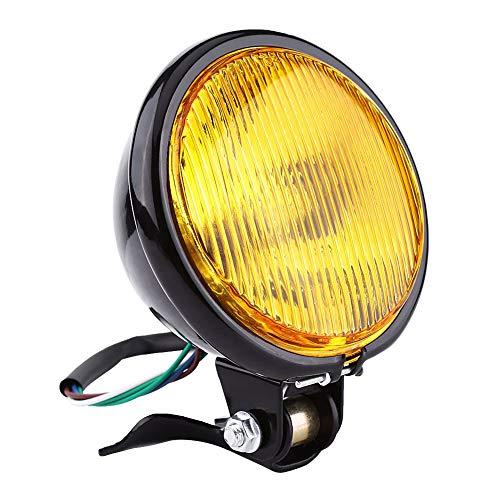 Aramox Headlight Bulb 5 Motorcycle Headlight Lamp Bulb For Yamaha Kawasaki Honda Suzuki Choppers Round Amber