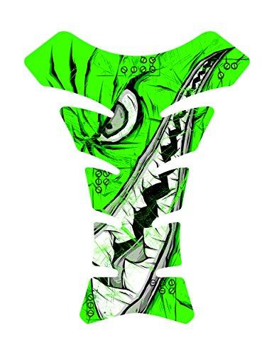 Size is 85 in tall x 65 in wide Tiger Fighter Shark Side Green World War 3d Gel Motorcycle Gas Tankpad Kawasaki Ninja ZX Suzuki GSXR Honda CBR Yamaha YZF Triumph Motorcycle TanK pad Decal Sticker