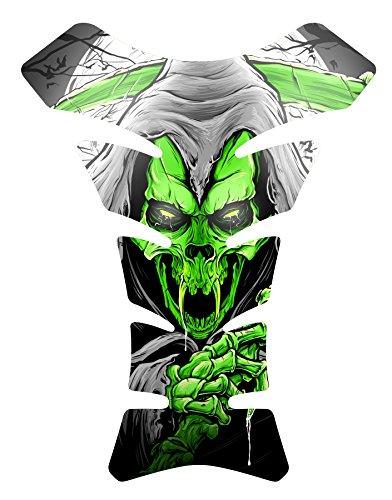 Size is 85 in tall x 65 in wide Vampire Grim Reaper Green Gel Motorcycle Gas Tankpad Kawasaki Ninja ZX Suzuki GSXR Honda CBR Yamaha YZF Triumph Motorcycle TanK pad Decal Sticker