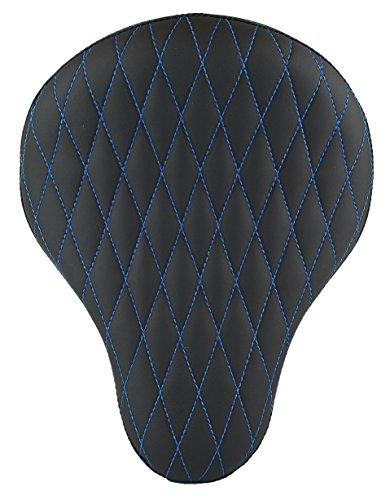 Chopper Bobber 16 Eliminator Solo Seat Black Diamond Tuk Blue Thread