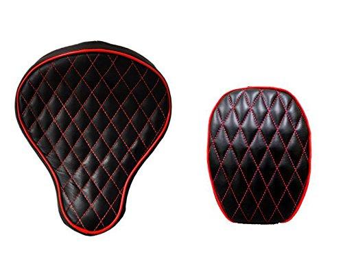 La Rosa Design Harley Chopper Bobber Seat  Passenger Pad Combo for 2004&UP Sportsters - Black w Red Thread Diamond Tuk