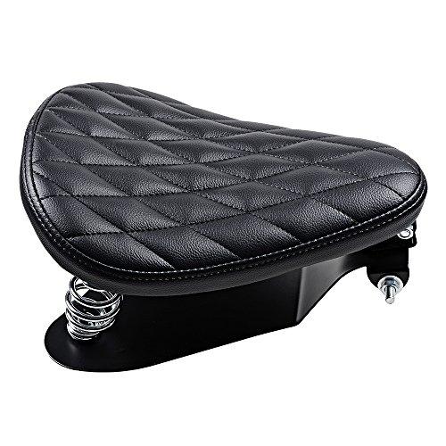 Completed Set 3 Leatherrette Motorcycle Diamond Pattern Solo Seat Spring Brackets Mount For Harley Bobber Chopper Custom