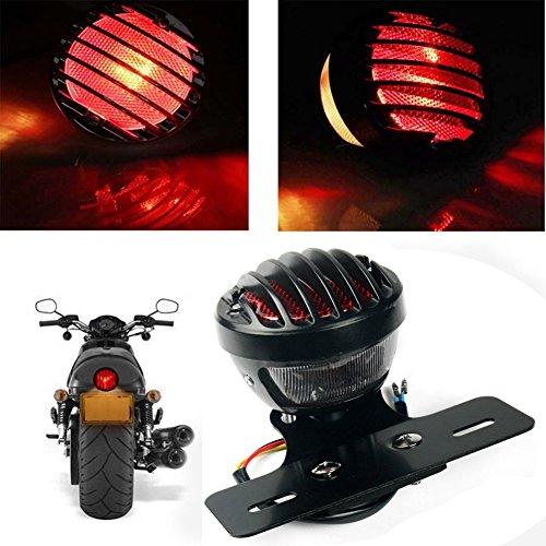 KATUR 1PCS Motofans Black Round Metal Motorcycle Tail Brake Light for Harley Bobber Chopper Custom April IA Mana