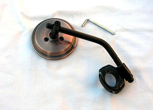 """Mr Luckys Antique Copper 3 Inch Mirror Black Stem Clamp for 1"""" 78 Handlebars for Harley Bobber Chopper Retro Custom"""
