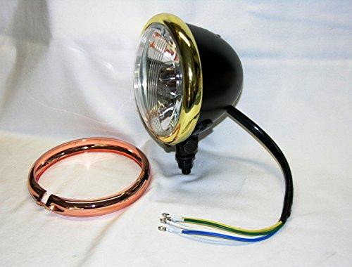 "Mr Luckys Black Satin 4-12"" HiLo Beam Mini Headlight with Brass Copper Plated Trim Rings Harley Bobber Chopper Vintage Retro"
