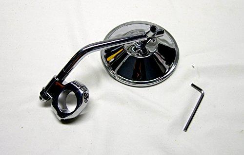 """Mr Luckys Chrome 4 Inch Mirror Chrome Stem Clamp for 1"""" 78 Handlebars for Harley Bobber Chopper Retro Custom"""