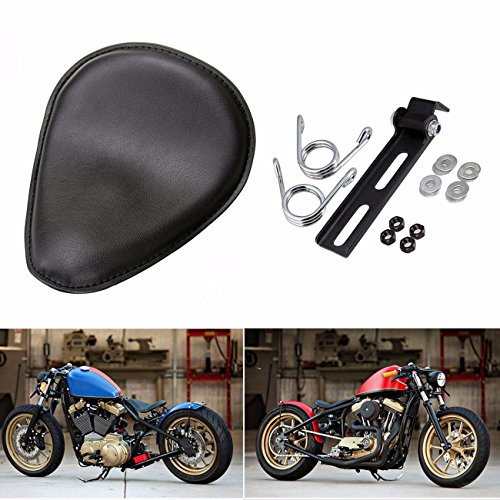 Black Motorcycle Deep Dish Seat Harley Chopper Bobber Solo Seat With Mounting Kit Torsion Spring Bracket