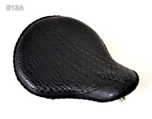 Bobber Solo Seat for Harley-Davidson or Indian Black Leather Alligator