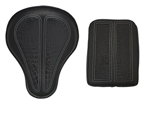 La Rosa Design Harley Chopper Bobber Solo Seat&Passenger Pad Combo - Black Leather with Black Alligator Inlay