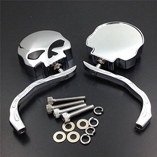 Motorbike Skull Flame Chromed Side Mirrors Fit Harley Dyna Softail Sportster Bobber Chopper