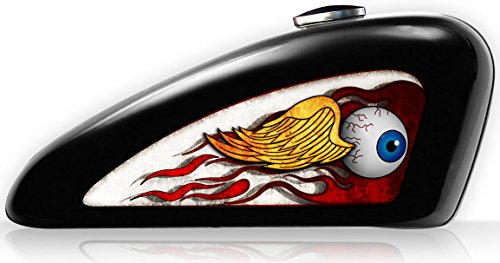 Motorcycle Fuel Tank Decals - Vinyl UV Coated Harley Davidson Sportster DecalsSticker Set Removeable - Von Dutch Style Flying Eye - 11 34 x 4 34 Gloss Left Right - Spades Cycle Graphics