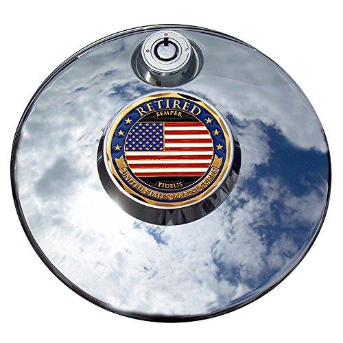 MotorDog69 Retired Marine Flag Harley Fuel Door Cover Coin Mount Set…