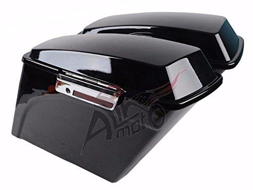 New 5 Vivid Black Stretched Extended Saddlebags Saddlebag with Lid Latch Keys For Harley Touring FLH FLT Electra Glide Road king Ultra Street 1994 - 2013