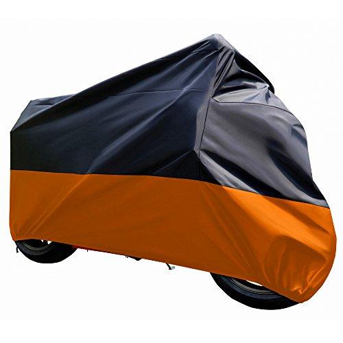 Tokept Universal Black and Orange Motorcycle cover Waterproof Sun UVXXLfor 104 Honda Kawasaki Yamaha Suzuki Harley Davidson Victory etc